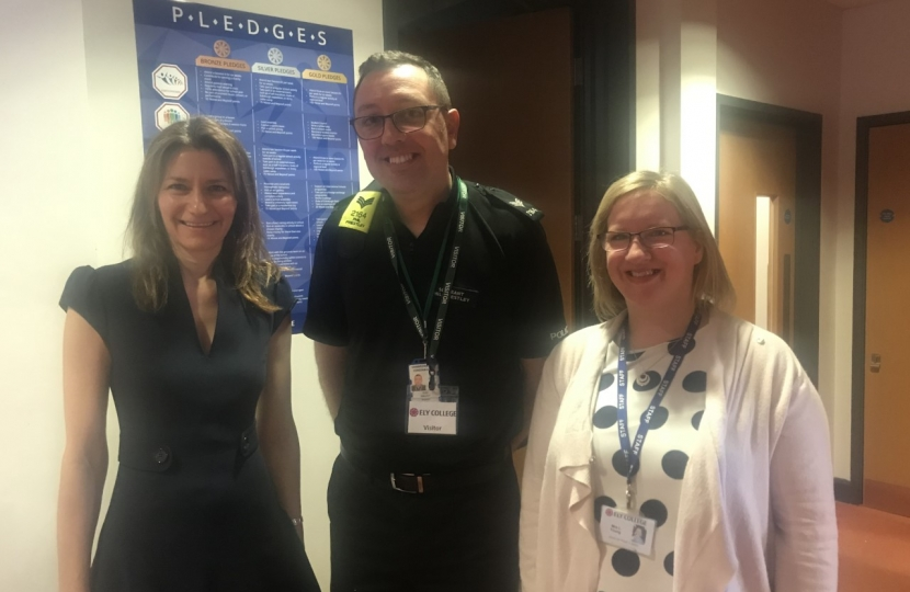 Lucy Frazer MP with Sgt Priestley at Ely College